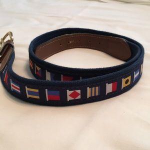 Casual ship flag men's belt... navy blue